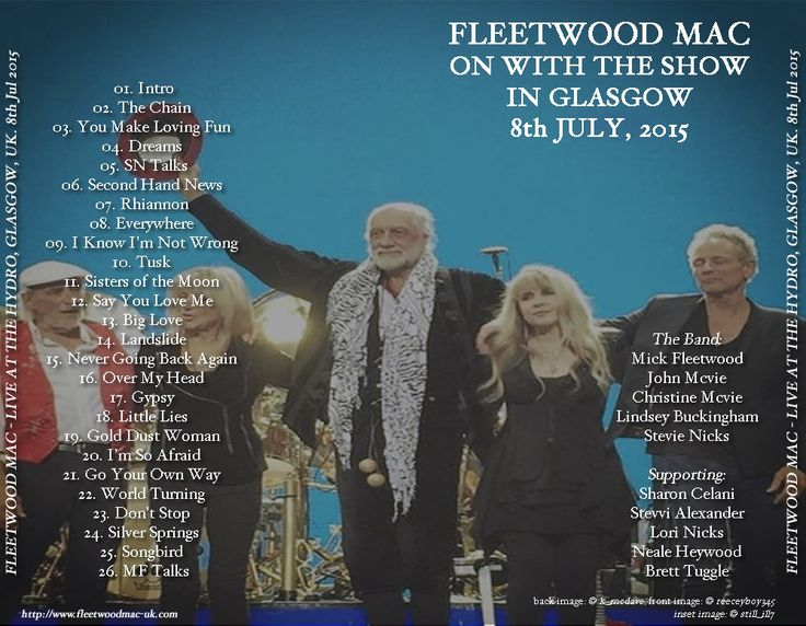 Go Your Own Way :: Fleetwood Mac UK | Gallery - Artwork for Fleetwood Mac live in Glasgow, 8th July 2015 (back)