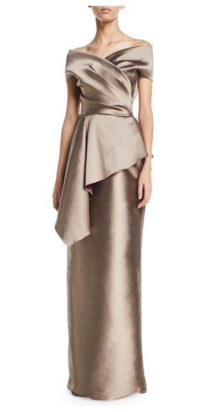 60eaf00ca6b Rickie Freeman for Teri Jon Stretch Gazar Off-Shoulder Peplum Column Gown.   rickiefreemanforterijon  dresses  gowns