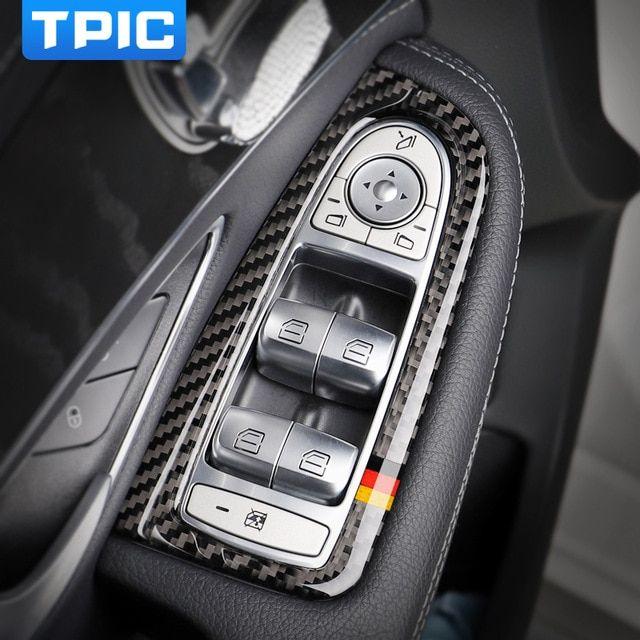 Carbon Fiber P Electronic Brake Switch Button Trim For Mercedes C Class W205 GLC