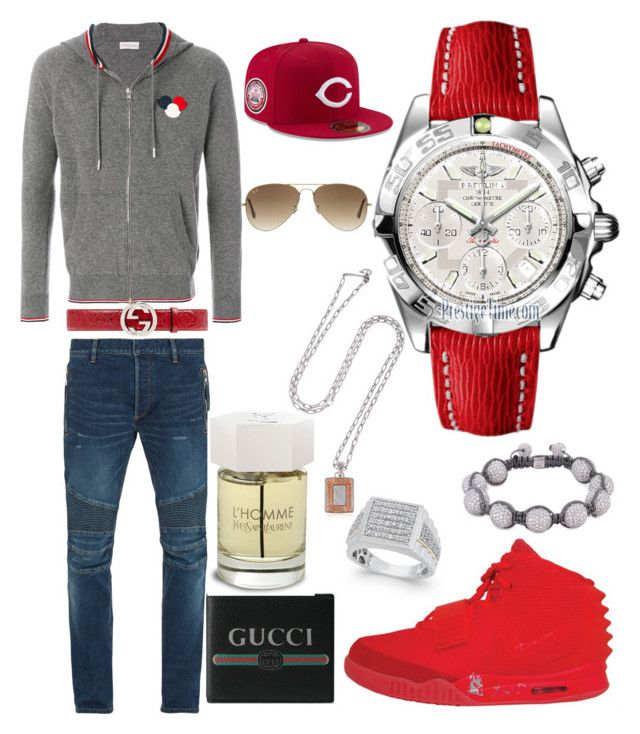 """""""Casual"""" by pitbull8382 on Polyvore featuring Balmain, Moncler, Gucci, NIKE, Breitling, Shamballa Jewels, Yves Saint Laurent, Marco Ta Moko, New Era and Ray-Ban"""
