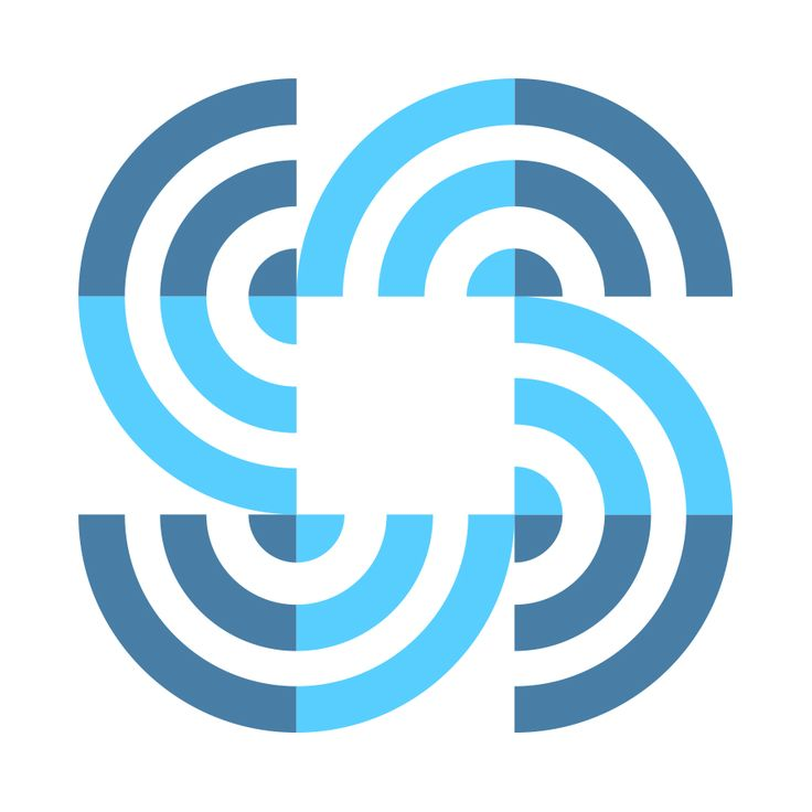 Gardner Design - SWPlus commercial cleaning supplies logo design. Monoline circles are combined to form squares. Company colors: light blue, dark blue.