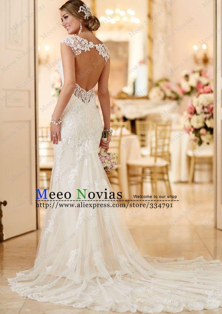 2016 Sexy Sereia Vestidos de Casamento Organza V Neck vestido de Casamento vestido de Noiva Robe De Mariage Vestido De Noiva da Luva do Tampão Do Vintage em Vestidos de casamento de Casamentos & Eventos no AliExpress.com | Alibaba Group