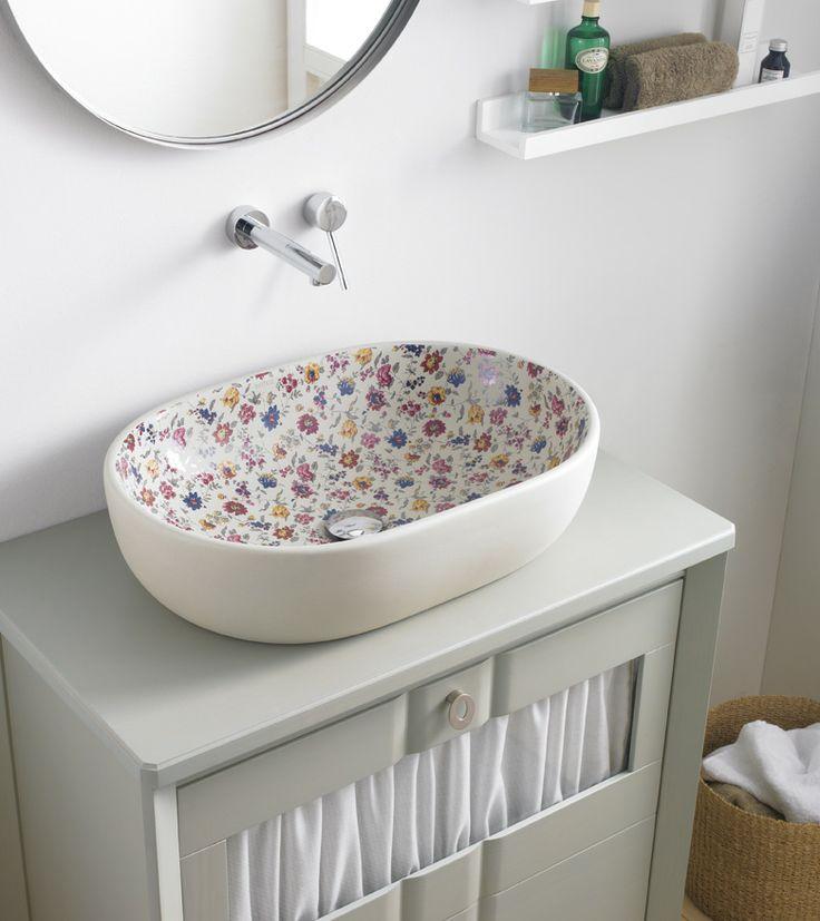 Lavabo Toulouse en porcelana blanca decorado Geraldine. Ref 4037/GER