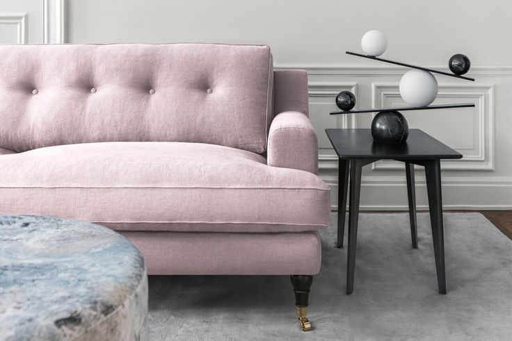 Layered's Novel Howard Sofa Pink Blush. Clean design with a modern interpretation of a classical Howard design. The sofa is incredibly inviting with its deep seat combined with a contemporary look. See more at: http://layeredinterior.com/product/novel-howard-sofa/