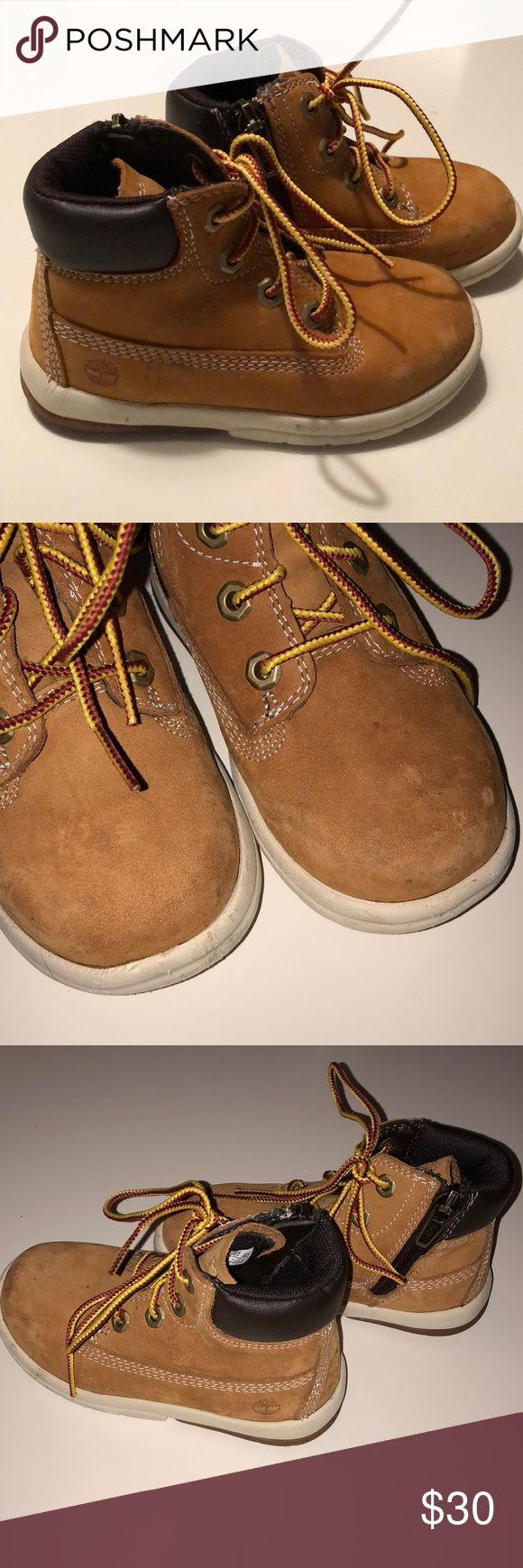 Toddler Timberland Boots Zip sides make them easy to get on and off. Only worn a couple of times. A few scuffs on the toes and marks that can probably clean off. See photos Timberland Shoes Boots