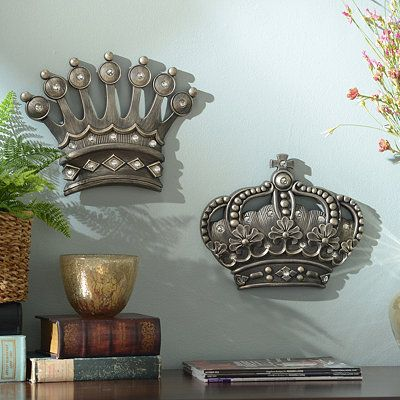 His Her Crown Silver Jeweled Wall Plaque Set Of 2 Crown