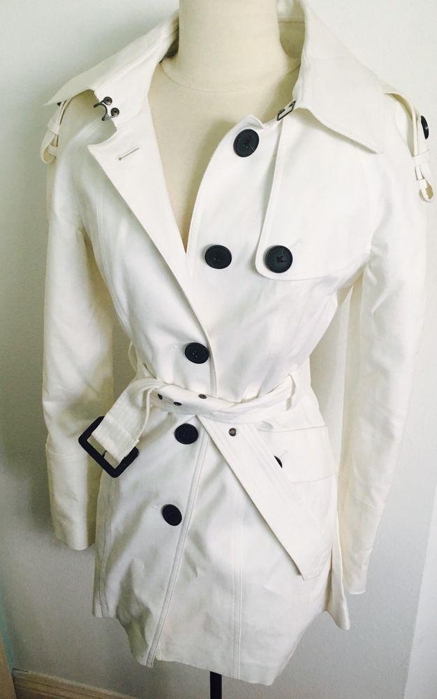 New Without Tags Elegant Bcbg Max Azria White Trench Coat Jacket Size Small XS   eBay
