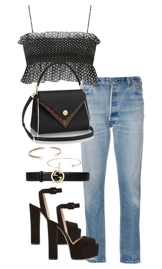 """""""Untitled #4223"""" by theeuropeancloset ❤ liked on Polyvore featuring RE/DONE, Giuseppe Zanotti, Gucci, Belk & Co. and Jeweliq"""