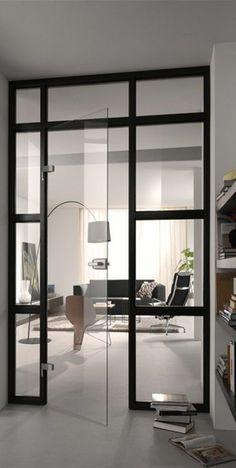 porte en verre tranparente, sol en lino gris, cloison amovible ikea