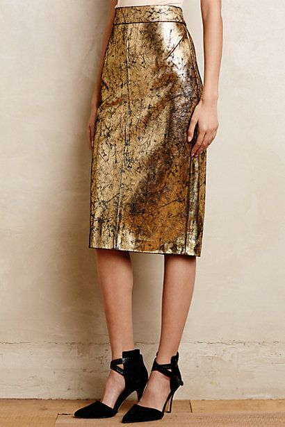 Gilded Leather Pencil Skirt - anthropologie.com #AnthroFave