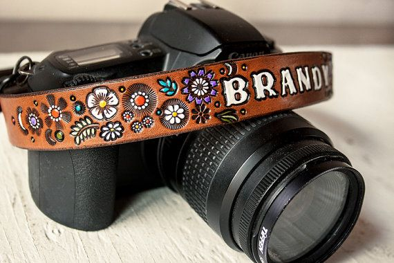 Custom Leather Camera Strap - Floral pattern of Lavender, Turquoise, Yellow, Orange and White on Chocolate Brown stain - Custom text, name