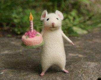 Nadel gefilzte Maus, weiße süße Maus, Maus, Nadel gefilzte Tier, Nadel gefilzte Miniatur, Geburtstagsgeschenk