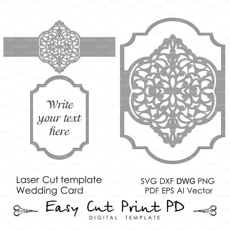 Wedding invitation Eastern Pattern Card Template от EasyCutPrintPD