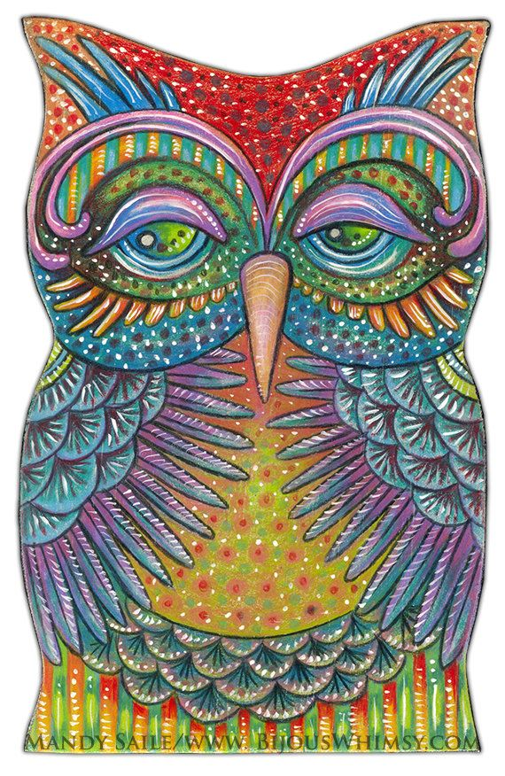 "Owlette Oralee - an 8 x 10"" ART PRINT of a cheerful and Fun Loving Colourful Owl Art Great For Kids Rooms or Bird & Whimscal Art Lovers"