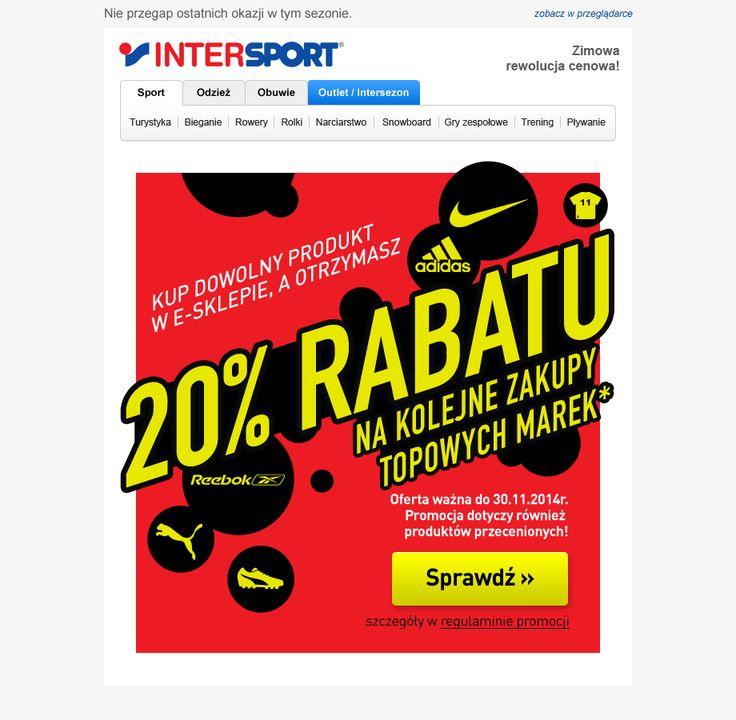 Grafika nie musi być płaska. I jak tu nie skorzystać z rabatu? ;) Projekt przygotowany dla Intersport, promujący sezonowe obniżki cen #intersport #template #email #design