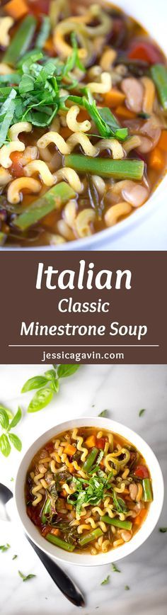 Classic Italian Minestrone Soup - Cooler nights call for a comforting big bowl of this soup! Each bite is packed with healthy vegetables, beans, fresh herbs and pasta | jessicagavin.com
