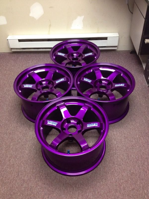 SO effin pretty!  Feeler: 17x9.5, +12 offset PURPLE VOLK TE37 RIMS - evolutionm.net