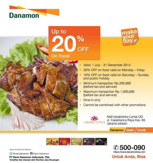 Grand Lotus: Discount 20% Off, On Food (Danamon) @GrandLotus1