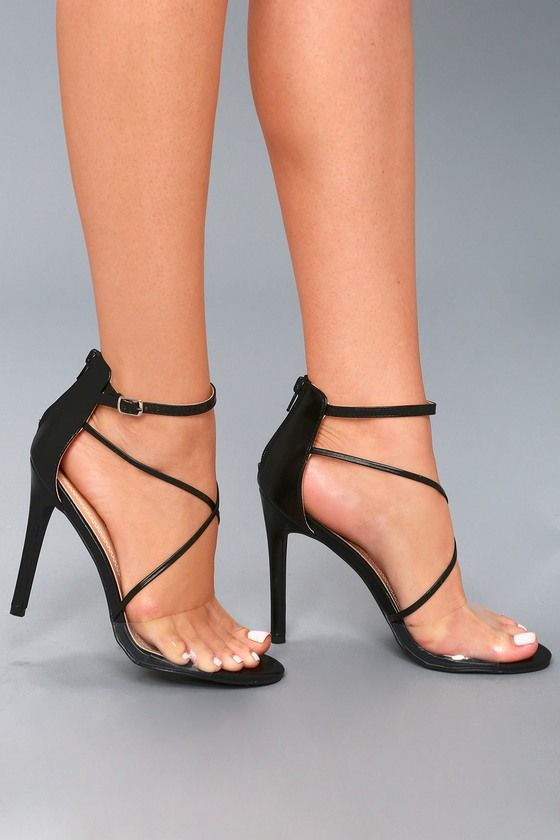 d94e1634ab1 Make a sexy statement in the Arlo Black Ankle Strap Heels! A clear ...