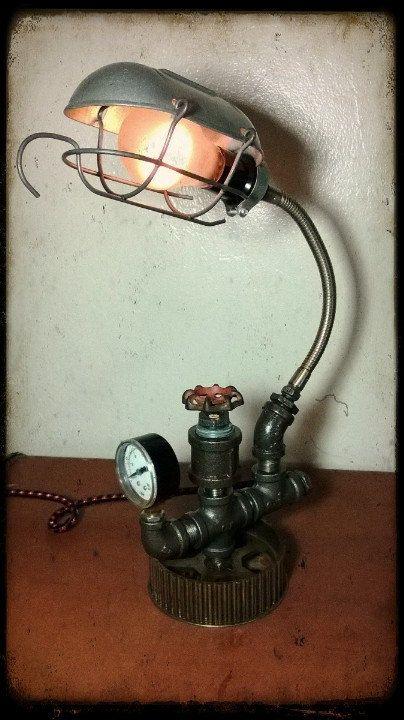 Upcycled Repurposed Reused Camshaft Gear Machine Dieselpunk Lamp...