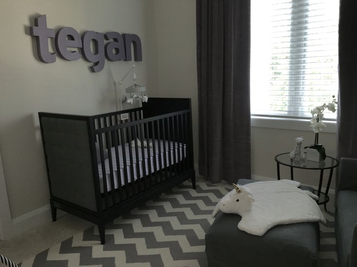 Modern Baby Nursery Dusty Lilac And Grey Chevron Rug Espresso Furniture Land Of Nod Crib