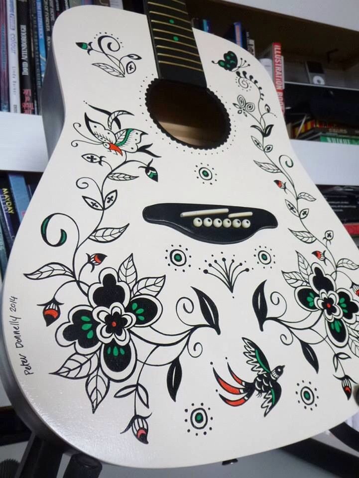 Batik guitar created by artist Peter Donnelly for the Musical Youth Foundation!