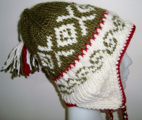 Hand Knit Hat Womens Hat  Earflap Hat in Cream by earflaphats, $29.99