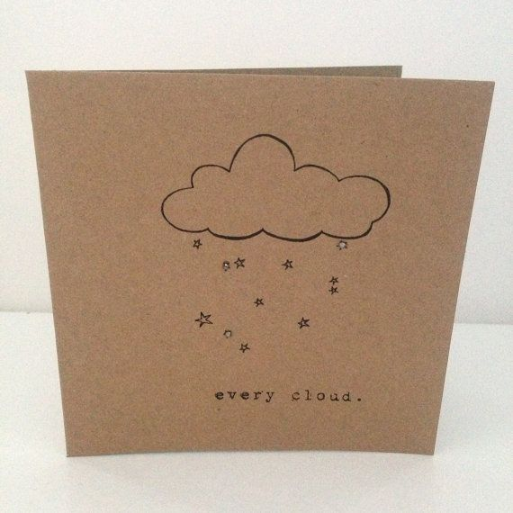 Vintage Style Shabby Chic note or sympathy card 'every cloud' with crystal details- hand made on Etsy, £1.50