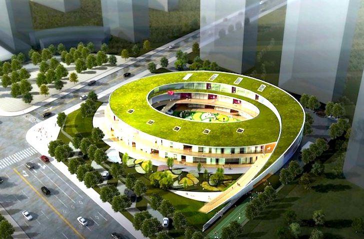 UDG China Breaks Ground on Spiraling Green Roofed Kindergarten in Wuxi | Inhabitat - Green Design, Innovation, Architecture, Green Building