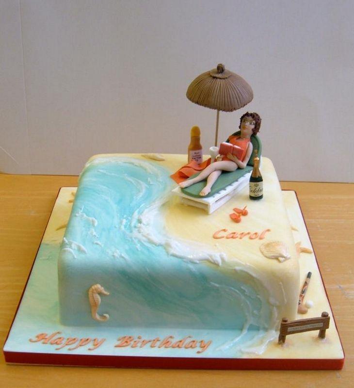 Lady On A Beach Birthday Cakes Beach Themed Party