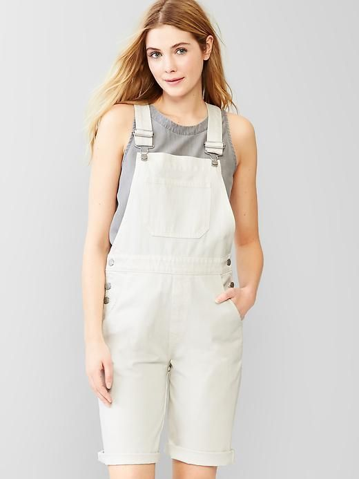 $59, White Denim Overall Shorts: Gap 1969 Denim Bermuda Overalls. Sold by Gap. Click for more info: https://lookastic.com/women/shop_items/255324/redirect