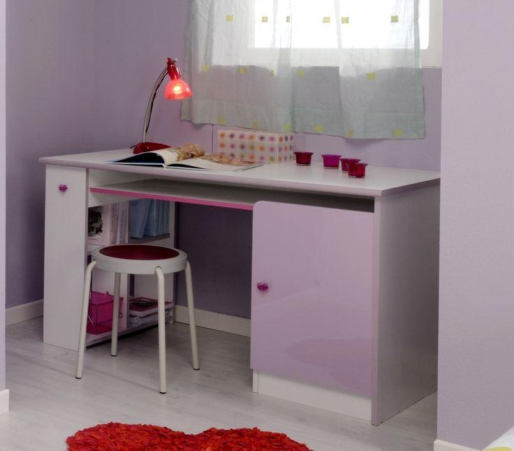 Wit en violet gekleurde bureau die perfect past in een meisjeskamer #Kinderkamer #Topper