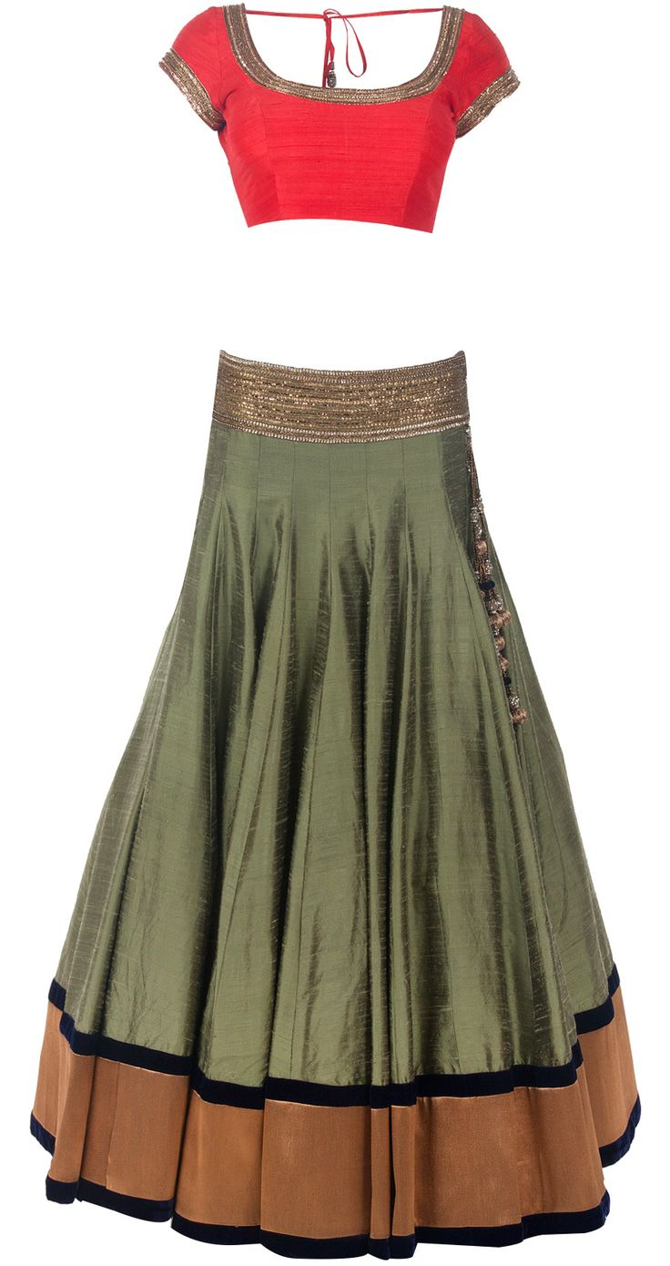 Olive green raw silk lehenga set available only at Pernia's Pop-Up Shop.
