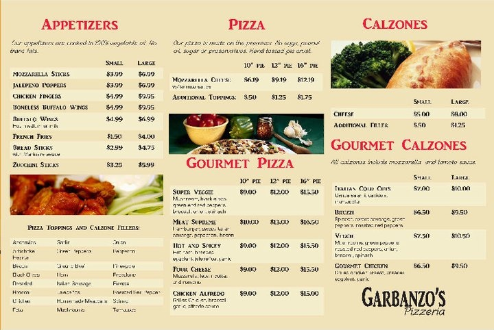 Inside of the menu for Garbanzo's pizza