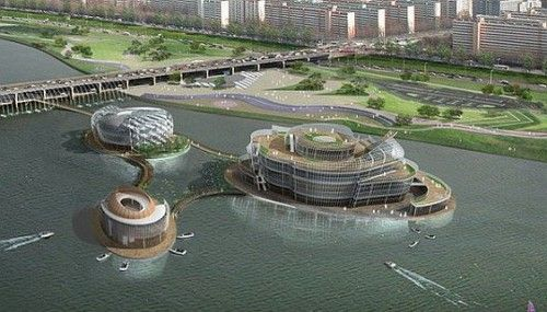 Viva, new floating island in South Korea powered by solely by solar energy it includes a 700-seat convention hall, restaurants and arcades.  http://www.greenpacks.org/2011/06/06/viva-solar-powered-floating-structure-comes-up-in-seoul/