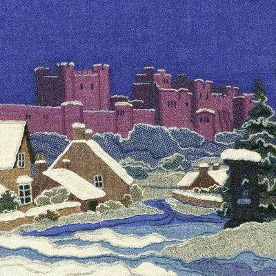 """Bamburgh in Snow"" - Harris Tweed needle felted paintings, giclee prints & greetings cards by Jane Jackson. www.brightseedtextiles.com"