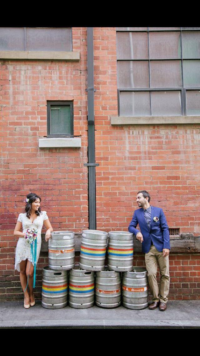 Beer barrel photos laneway wedding photos retro wedding