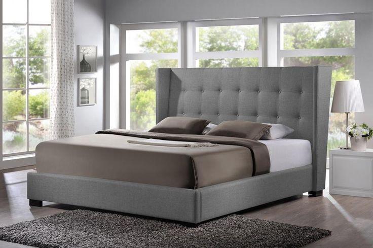Favela Gray Linen Modern King Bed-Upholstered Headboard | Beds | Old Bones Furniture Company