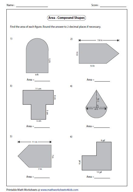 Area of Compound Shapes   Type 1   Homeschool 5th and 3rd ...