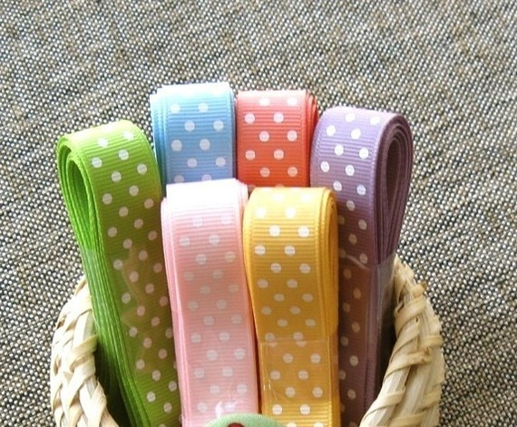 colored ribbon with polka dots