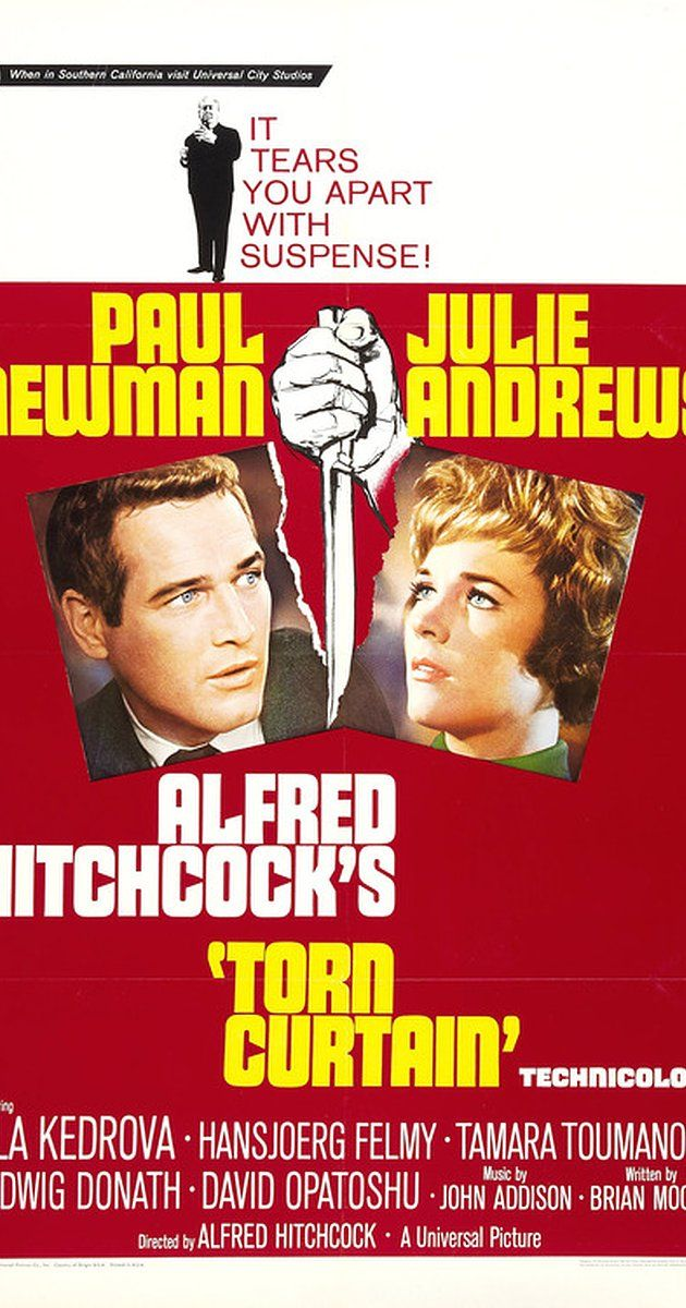Directed by Alfred Hitchcock.  With Paul Newman, Julie Andrews, Lila Kedrova, Hansjörg Felmy. An American scientist publicly defects to East Germany as part of a cloak and dagger mission to find the solution for a formula resin before planning an escape back to the West.