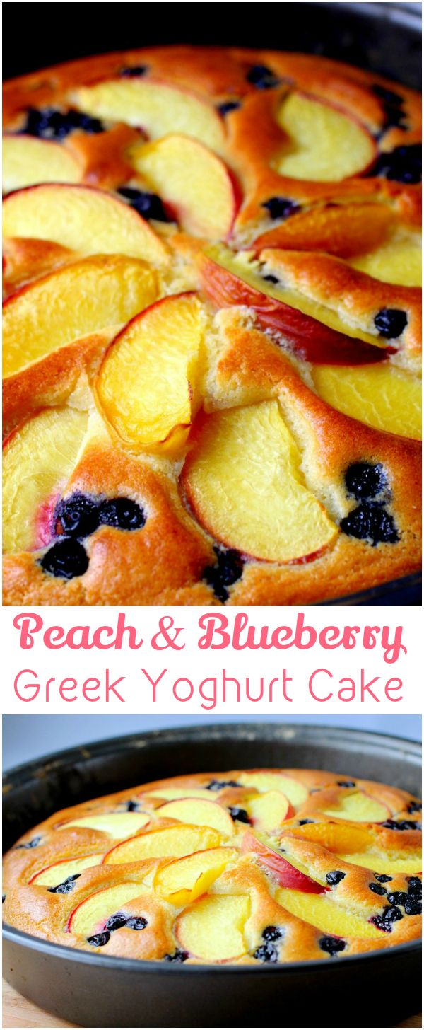 Peach and Blueberry Greek Yoghurt Cake ~ Make this delish and colourful cake with this super simple and well detailed recipe and you will definitely amaze everyone at the dining table if you serve it tonight.