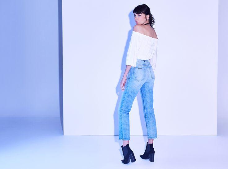 Original Straight Jean Old Stone | $149.95 #webleedblue #generalpants #rollasjeans #momjean #denim
