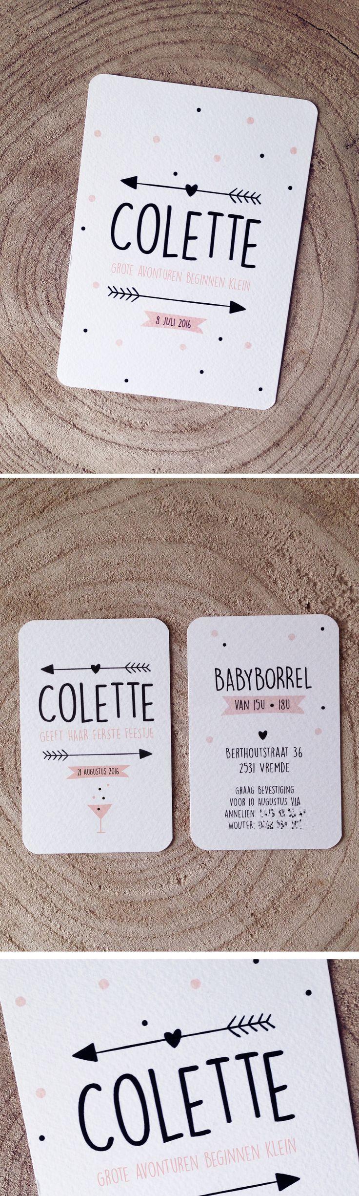 Geboortekaartje Colette // pijltjes // hartjes // meisje // roos // zwart // grote avonturen beginnen kleine