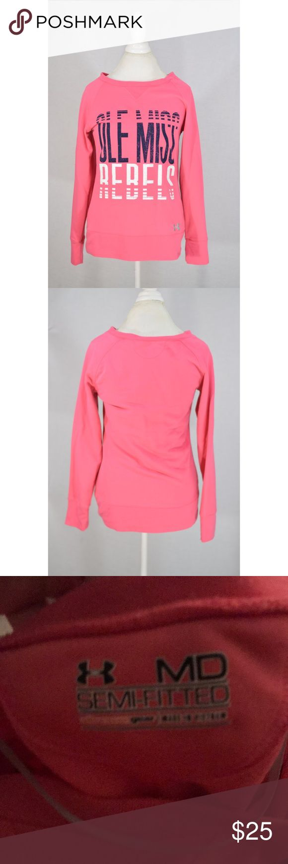 """Under Armour Pink Ole Miss Sweatshirt Excellent condition. Oversized. 29"""" L 21"""" pit to pit Under Armour Sweaters"""
