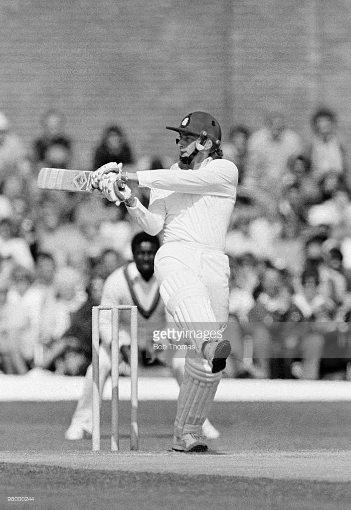 Graeme Fowler batting for Lancashire against the West Indies at Aigburth Cricket Ground in Liverpool on 29th May 1984. (Bob Thomas/Getty Images).