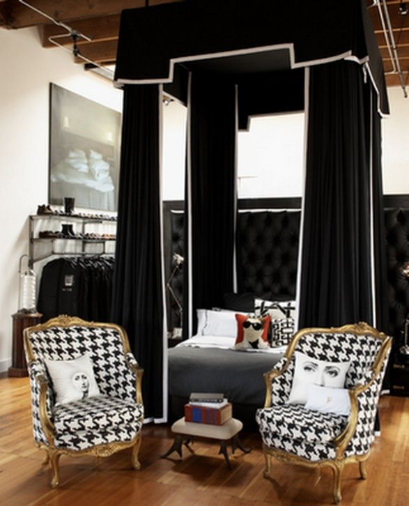 I Am In Love With These Houndstooth Chairs! Black Draped Canopy Bed With Houndstooth  Chairs