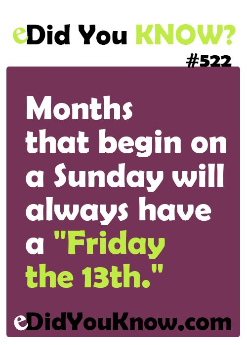 "Months that begin on a Sunday will always have a ""Friday the 13th.""  eDidYouKnow.com"