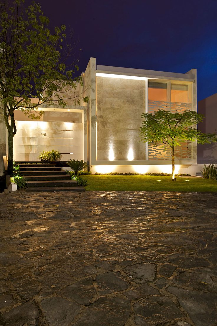 Night View Front Playful And Quirky Details Influencing Lighting: Casa Natalia by Agraz Arquitectos