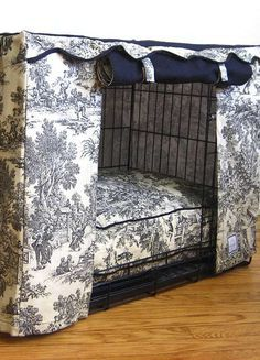 Transform an unsightly metal pet crate into a stylish and private haven for your pet with the Toile Pet Crate Cover that provides your pet with a bed without sacrificing your home's style.